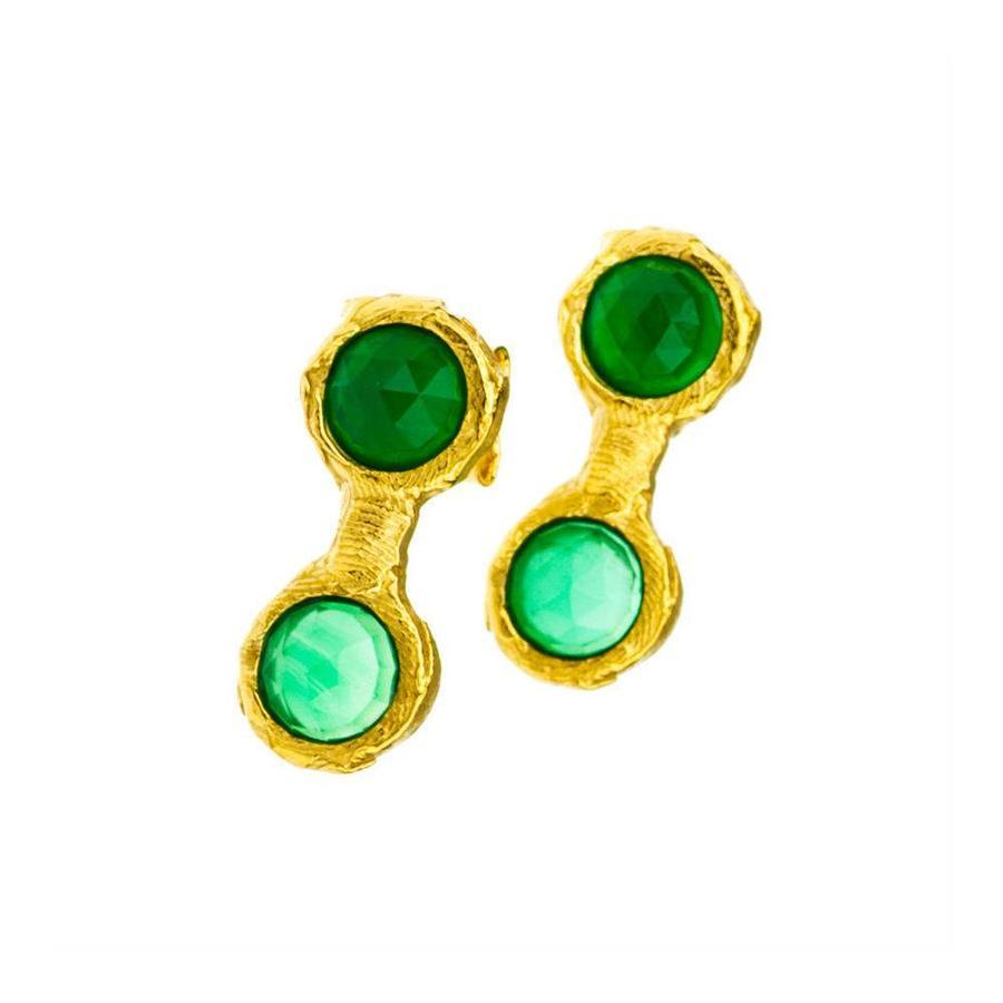 """Oorbellen """"treasure island"""" MG4211 met groene agaat-1"""