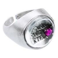 """Ring """"mantra"""" MS5529 met bergkristal en robijn"""