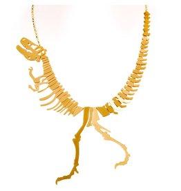Dinosaur Necklace Gold
