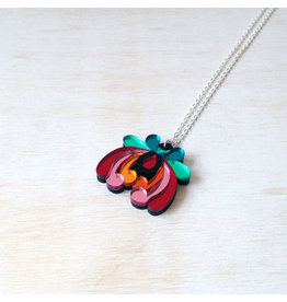 Floral Small Pendant - Red