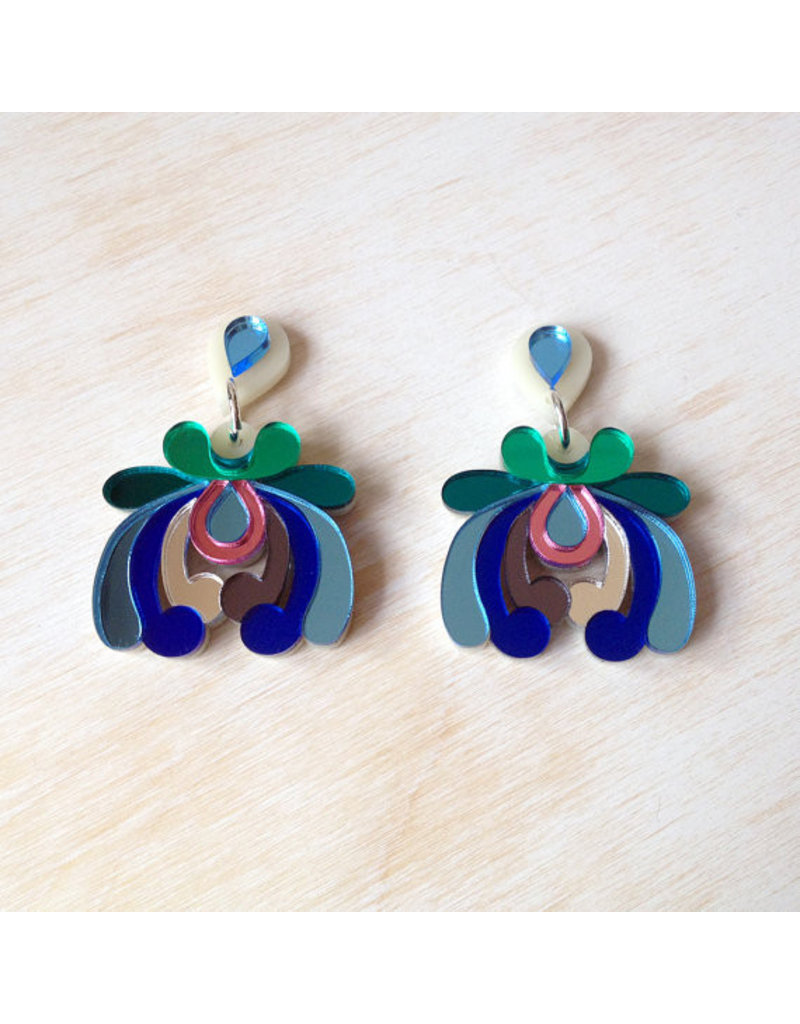 Floral Drop Earrings - Blue