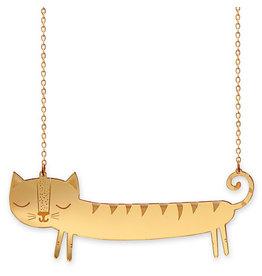 Catnap Large Gold Sausage Cat Necklace