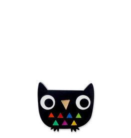 Doodllery Harlequin Owl Brooch