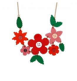 Pinked craft Flowers Large Necklace - Red