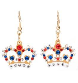 Crystal Crown Earrings Gold