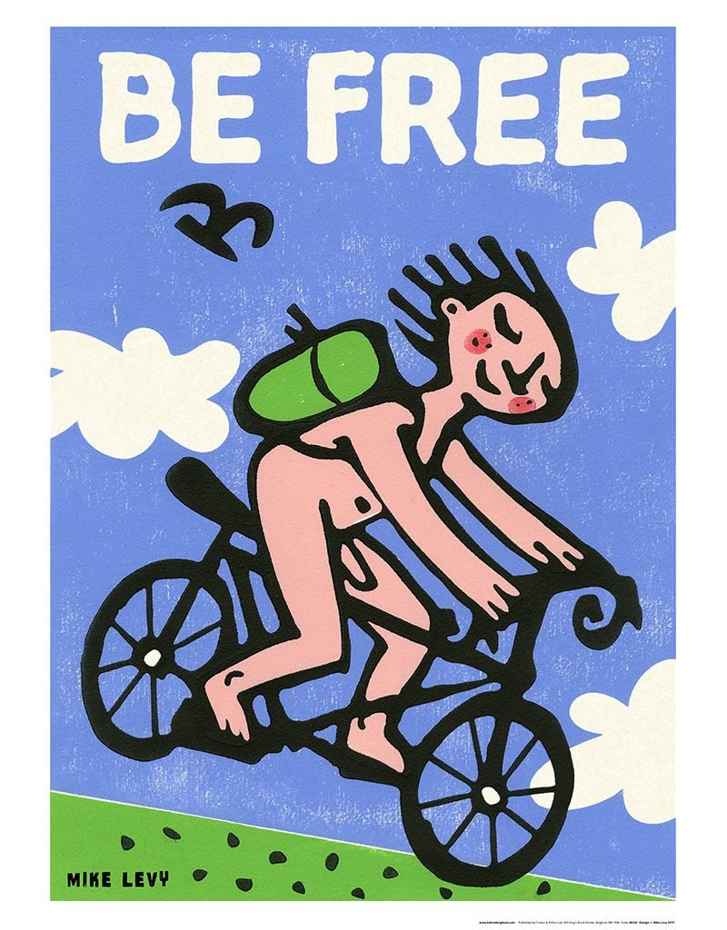 Be Free Downhill Racer Large Poster