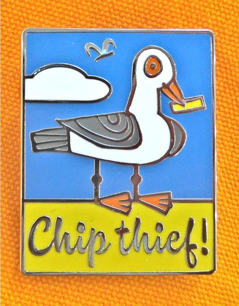 Enamel Brooch: Chip Theif