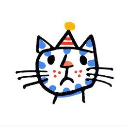 Cross Cat in a Party Hat