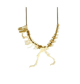 Dinosaur Necklace - Gold mirrored acrylic