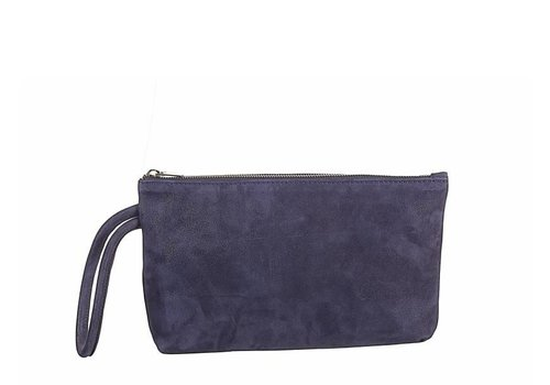 Le Babe Navy Shimmer Suede Bag