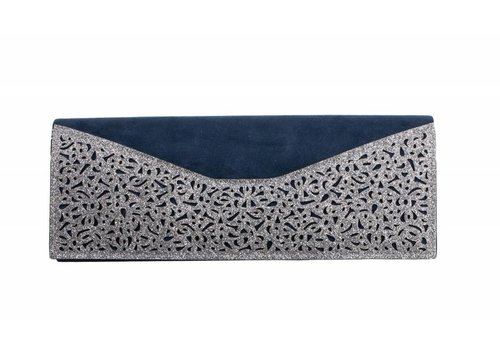 Glamour ET428B Navy/Silver Suede Bag