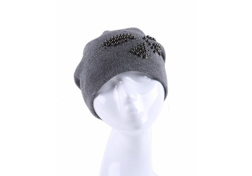 Peach Accessories SD08 Pearl Butterfly Wool Hat Grey