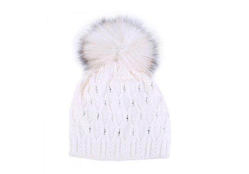 Peach Accessories SD01 White Diamanté wool Hat