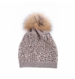 Peach Accessories SD03 Sequined wool Hat in Taupe
