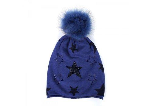 Peach Accessories FF06 Navy Star (Faux Fur) Hat