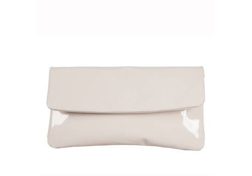 Le Babe Le Babe Cream Patent Flap-over bag