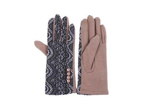 Peach Accessories HA03 Beige Lace Wool gloves