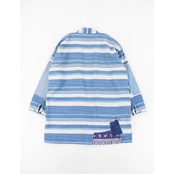 White Indigo Stripe Empower Haori Jacket