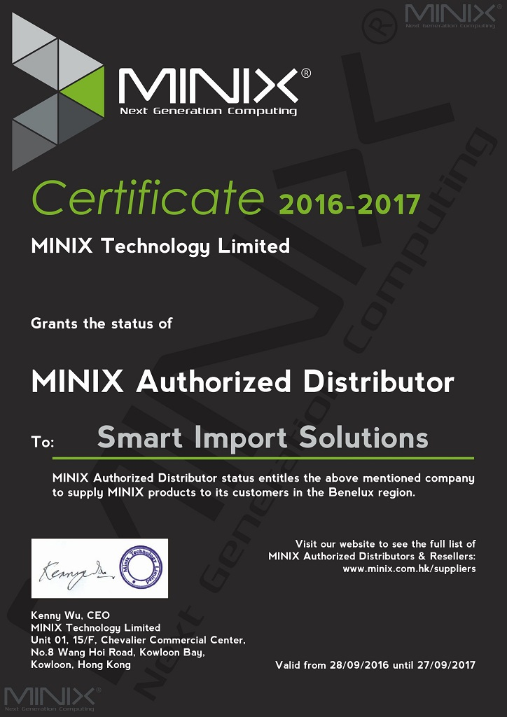 Smart Import Solutions MINIX Distributeur BENELUX