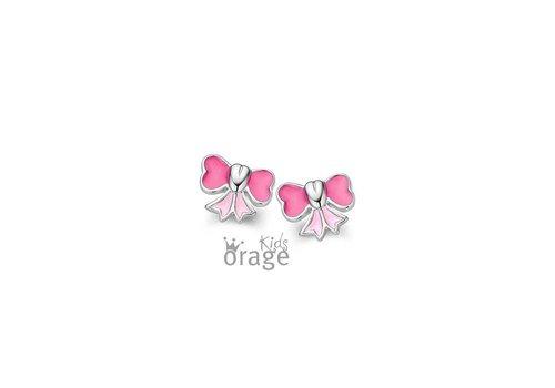Orage Kids oorbellen Roze strik O/3378