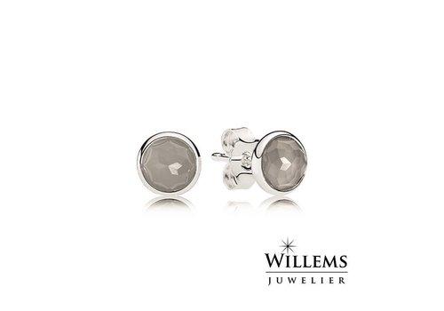 Pandora June birthstone silver stud earrings with grey moonstone 290738MSG