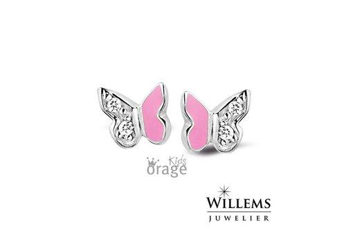 Orage Kids oorbellen Roze Vlinder O/4815