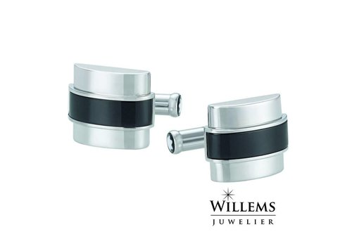 Montblanc Silver-Tone Steel and Black Onyx Cuff links 109849