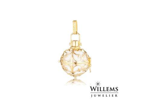 Engelsrufer hanger goud met witte klankbol small ER-01-SG