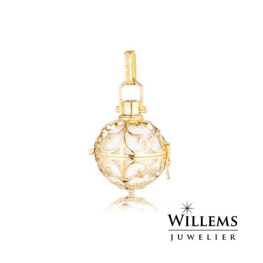hanger goud met witte klankbol small  ER-01-SG