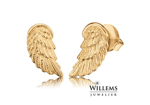 Engelsrufer oorbellen vleugel goud ERE-WING-STG