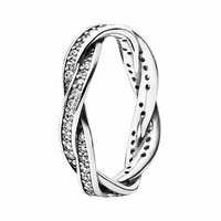 Braided pave silver ring 190892CZ