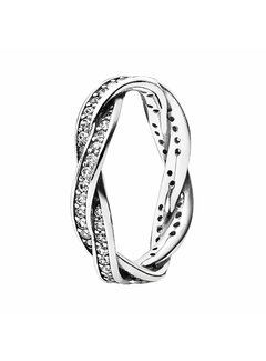 Pandora Braided pave silver ring 190892CZ