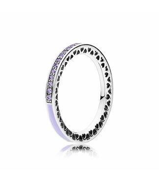 Pandora Purple Radiant Hearts of Pandora ring 191011ACZ Size 54