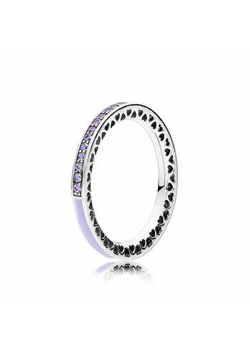 Pandora Silver ring with lavender zirconia and enamel 191011ACZ Size 54