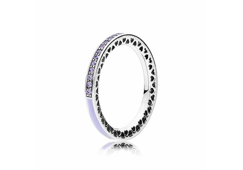 Pandora Silver ring with lavender zirconia and enamel 191011ACZ Size 54