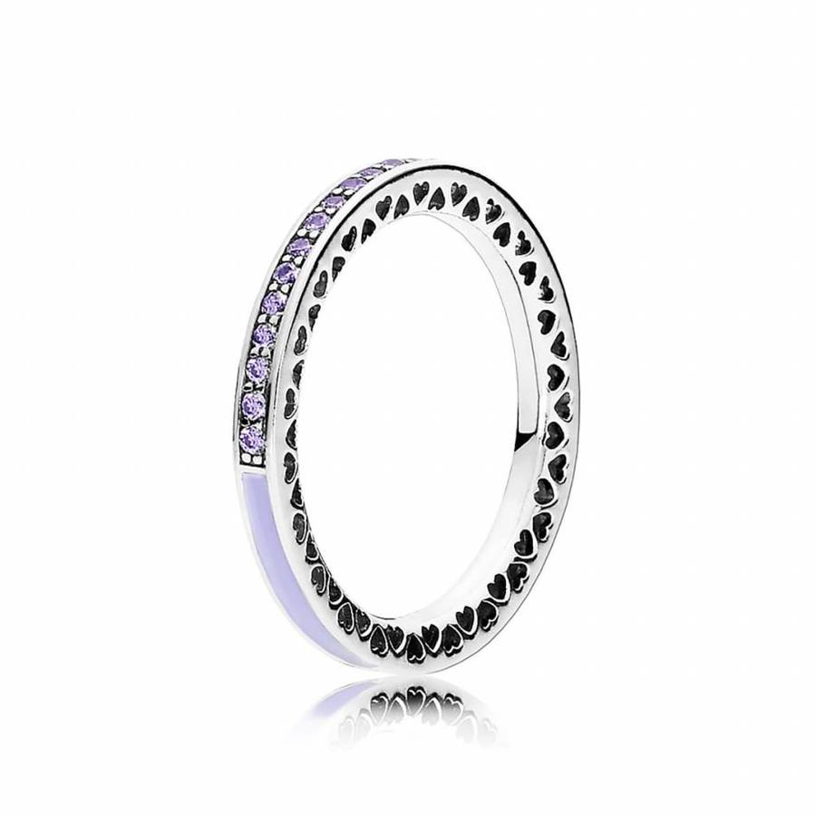 Silver ring with lavender zirconia and enamel 191011ACZ Size 54