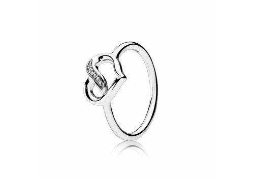 Pandora Ribbon heart ring 191022CZ