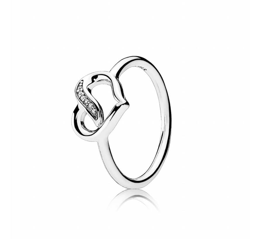 Ribbon heart ring 191022CZ