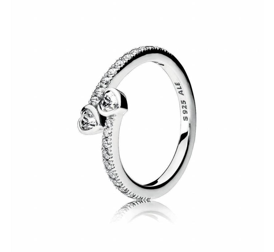 Hearts silver ring 191023CZ