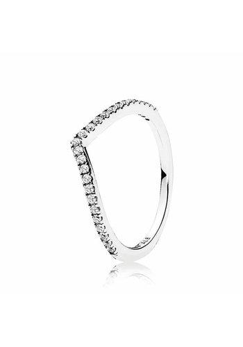 Pandora ring Wishbone with zirconia 196316CZ