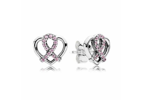 Pandora BCA ribbon and heart silver stud earrings with pink cubic zirconia 290729PCZ