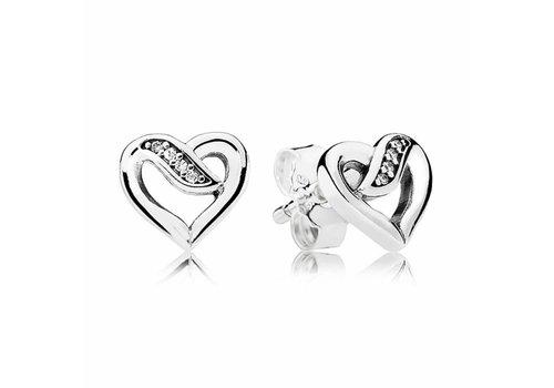 Pandora Ribbon heart silver stud earrings with clear cubic zirconia 290736CZ