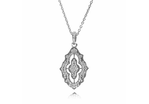 Pandora Silver pendant with cubic zirconia and necklace 390362CZ