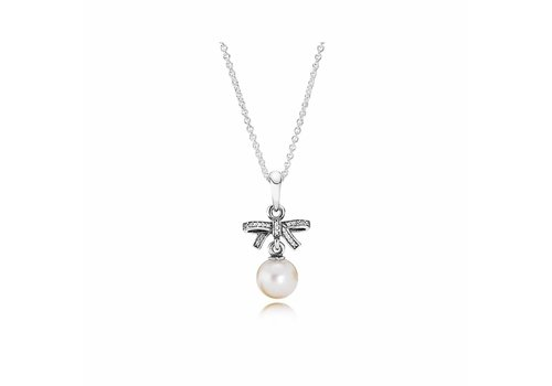 Pandora Bow silver pendant with freshwater cultured pearl, clear cubic zirconia and necklace 390380P