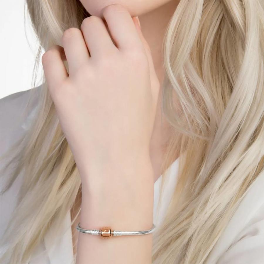 silver bracelet with Pandora Rose clasp 580702