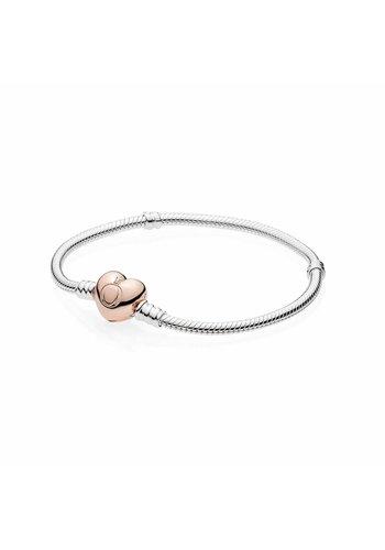 Pandora bracelet with Heart-Shaped Pandora Rose Clasp 580719