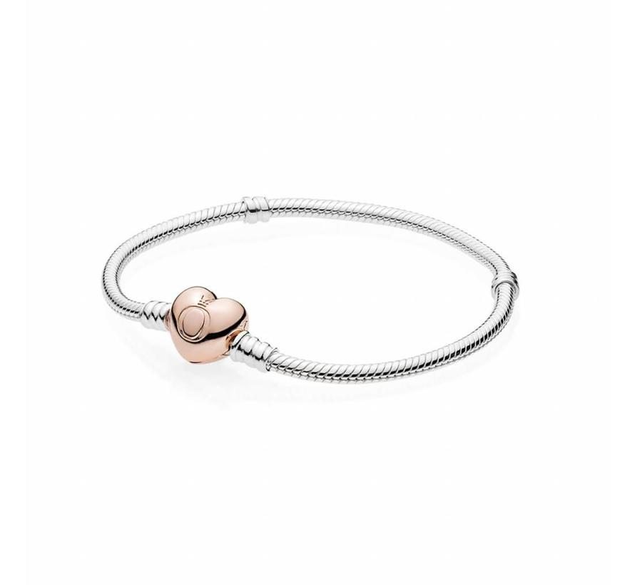 bracelet with Heart-Shaped Pandora Rose Clasp 580719