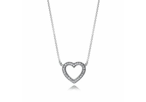 Pandora Heart silver necklace with clear cubic zirconia 590534CZ