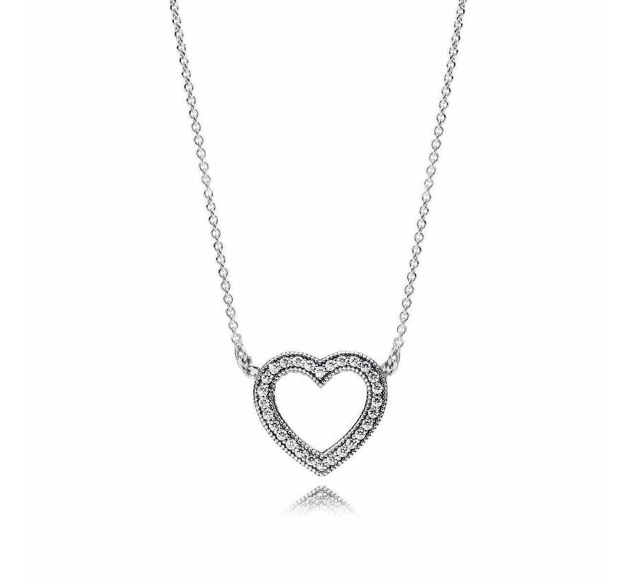 Heart silver necklace with clear cubic zirconia 590534CZ
