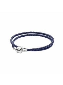 Pandora Silver leather double bracelet Blue 590705CDB